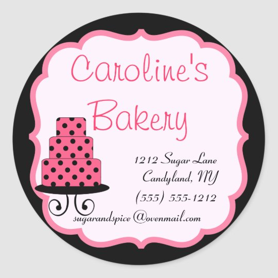 Baking and Bakery Boutique, Black and Pink Classic Round Sticker