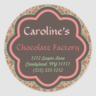Baking and Bakery Boutique, Chocolate Factory Classic Round Sticker