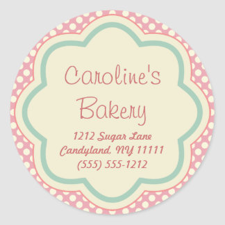 Baking and Bakery Boutique, Pink Polka Dot Classic Round Sticker
