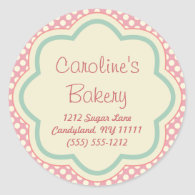 Baking and Bakery Boutique, Pink Polka Dot Sticker