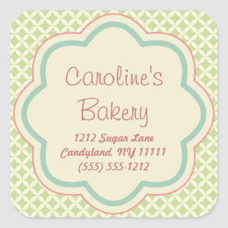 Baking and Bakery Boutique Stickers, Green Pattern Square Sticker