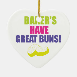 Baking - Bakers Have Good Buns Double-Sided Heart Ceramic Christmas Ornament