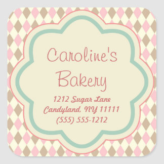 Baking Bakery Boutique, Pink Brown Geometric Square Sticker