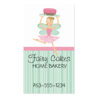 Baking bakery fairy pink frosted chocolate cake Double-Sided standard business cards (Pack of 100)