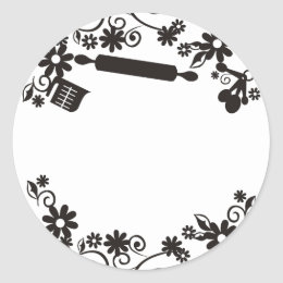 baking bakery utensils flowers gift tag sticker