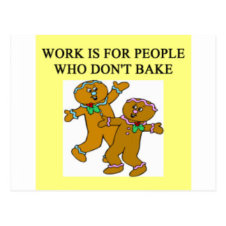 baking beats work postcard