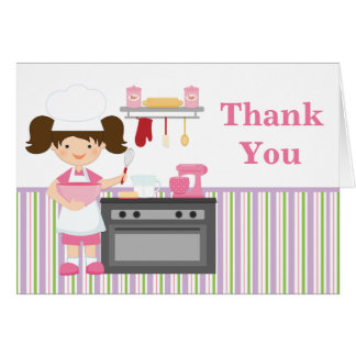 Baking Birthday Party Thank You Card