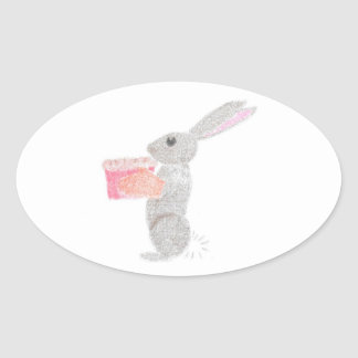 Baking Bunny Oval Sticker