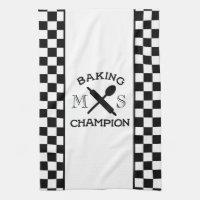 Baking Champion Monogram Chef Check Kitchen Towel