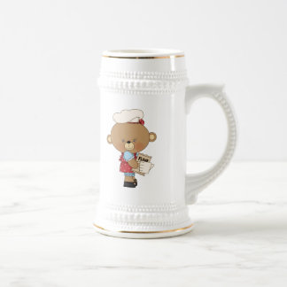 Baking Chef Baker Bear With Ingredients Beer Stein