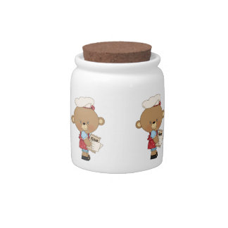 Baking Chef Baker Bear With Ingredients Candy Jar