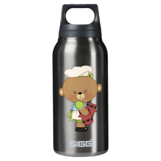 Baking Chef Baker Bear With Oven Mitts Insulated Water Bottle