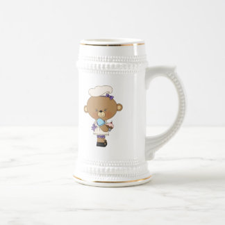 Baking Chef Baker Bear With Pink Cupcake Beer Stein
