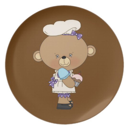 Baking Chef Baker Bear With Pink Cupcake Melamine Plate