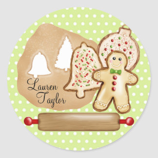 Baking Christmas Cookies Classic Round Sticker