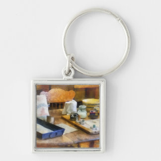 Baking Cookies Silver-Colored Square Keychain