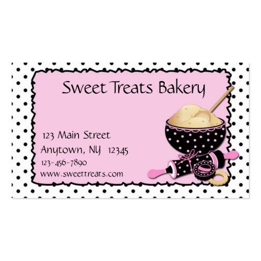 Baking Cookies Polka Dots Business Cards (front side)