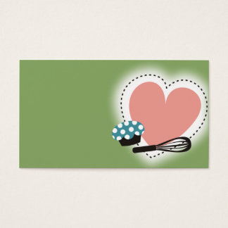 baking cupcake whisk heart business card green