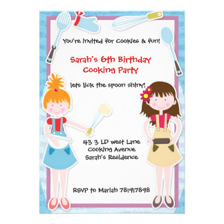 Baking Fun cooking party invitation