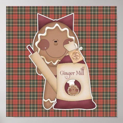 baking gingerbread girl poster