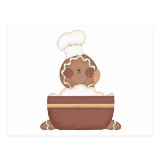 baking gingerbread man postcard