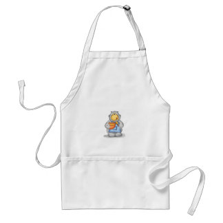 Baking Hippo eating dough - Personalize with name Adult Apron