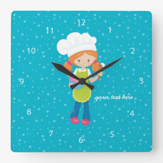 Baking is fun * choose your background color square wallclock