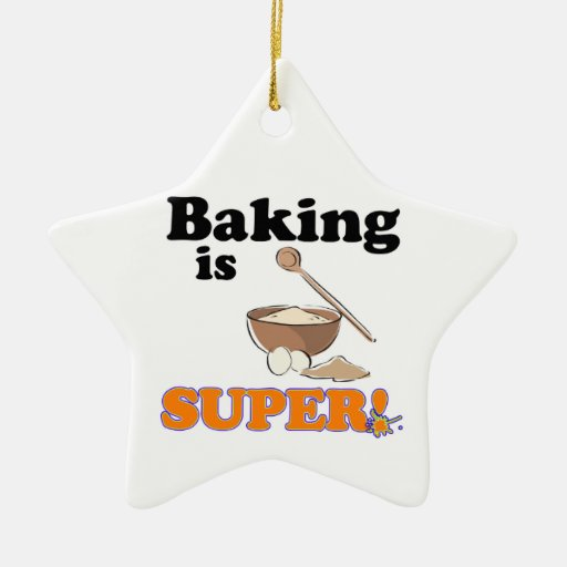 baking is super Double-Sided star ceramic christmas ornament