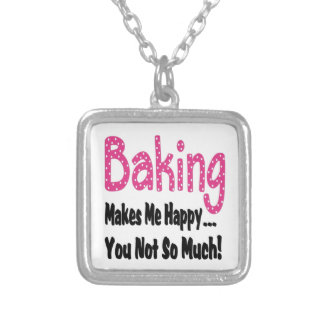 Baking Makes Me Happy Silver Plated Necklace