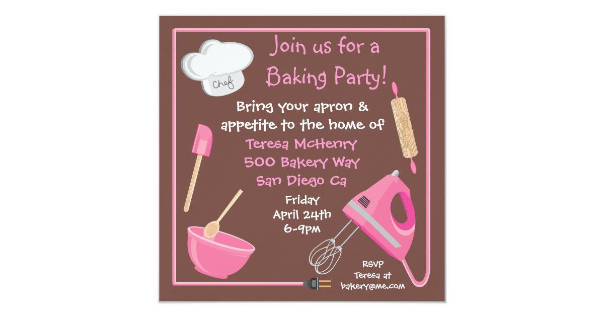 Cooking class birthday party invitations
