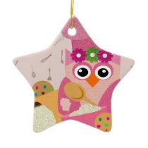 Baking Owl Ceramic Ornament