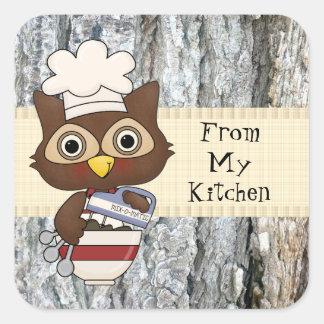 Baking Owl kitchen fun sticker