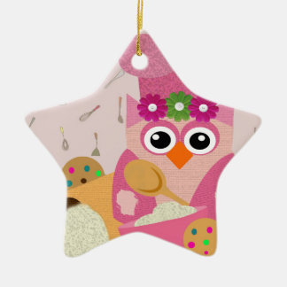 Baking Owl Double-Sided Star Ceramic Christmas Ornament