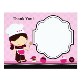 """Baking Party Thank You Card 4.25"""" X 5.5"""" Invitation Card"""