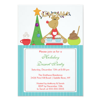 Baking Reindeer Holiday Christmas Party Invitation