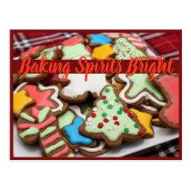 Baking Spirits Bright Christmas Cookie Postcard