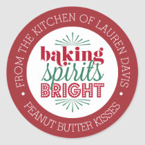 Baking Spirits Bright Personalized Holiday Baking Classic Round Sticker