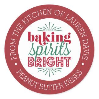 Baking Spirits Bright Personalized Holiday Baking Classic Round Sticker