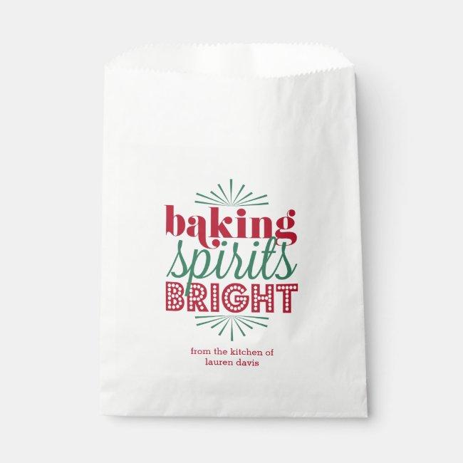Baking Spirits Bright | Red & Green Holiday Baking Favor Bag