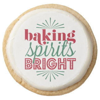 Baking Spirits Bright | Red & Green Holiday Round Shortbread Cookie