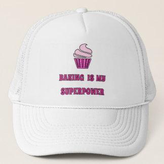 Baking superpower pink cupcake trucker hat