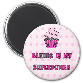 Baking superpower pink cupcakes magnet