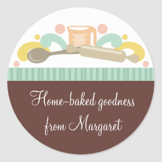 baking utensils bakery  gift tag stickers, Home... Classic Round Sticker