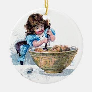 BAKING vintage girl baking cake illustration Ceramic Ornament