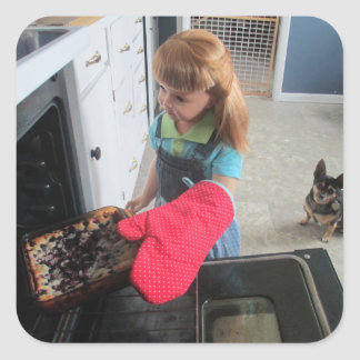 Baking with Esmeralda (and Mildred). Square Sticker