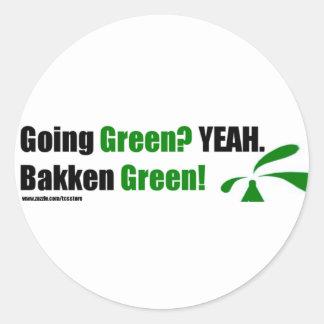 Bakken Green Round Stickers