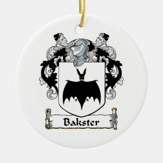 Bakster Family Crest Double-Sided Ceramic Round Christmas Ornament