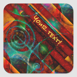 Baktun Mystical Spiral Abstract Square Sticker