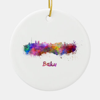 Baku skyline in watercolor ceramic ornament