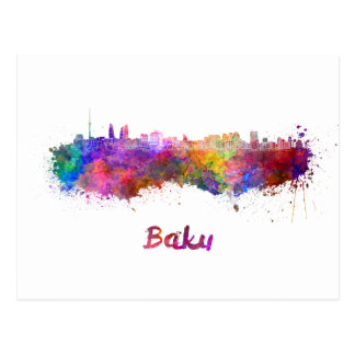Baku skyline in watercolor postcard